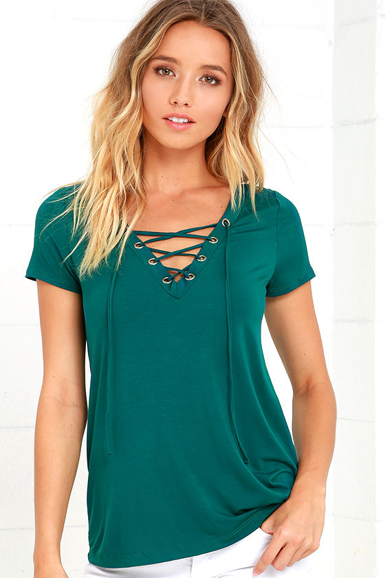 aaeaac46aa3 Lace-Up Tee - Forest Green Top - Short Sleeve Top -  34.00