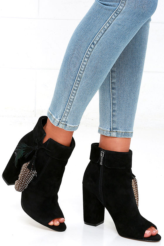 0e1497528b9 Jessica Simpson Kailey Black Suede Leather Booties