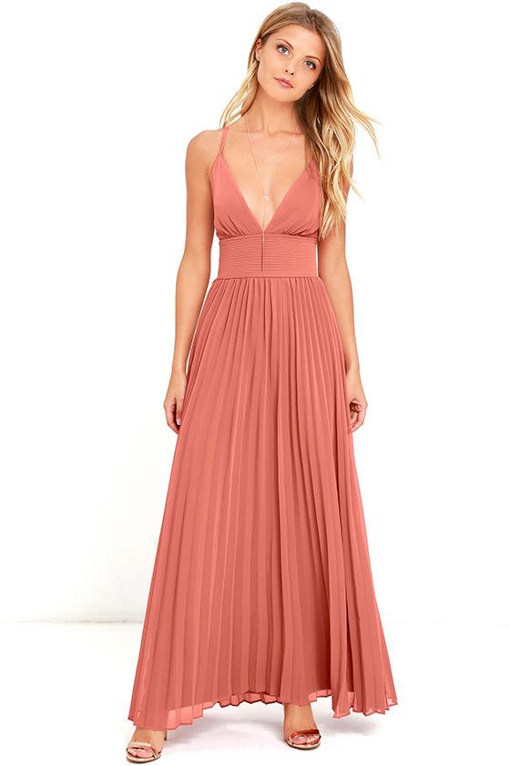 32c4534d7c3b1 Stunning Terra Cotta Dress - Pleated Maxi Dress - Marsala Gown - $78.00