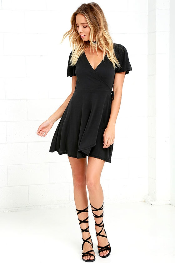 8968fcfd7932 Sexy Wrap Dress - LBD - Washed Black Dress - Fit-and-Flare Dress ...