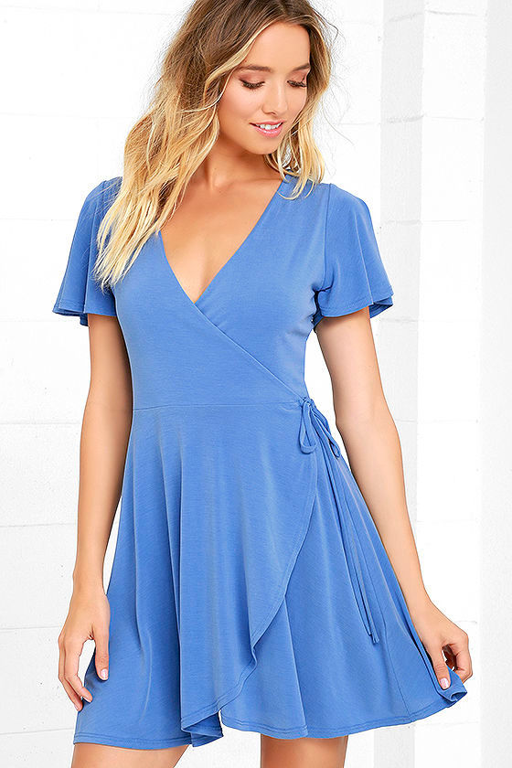 Sexy Wrap Dress Periwinkle Blue Dress Fit And Flare