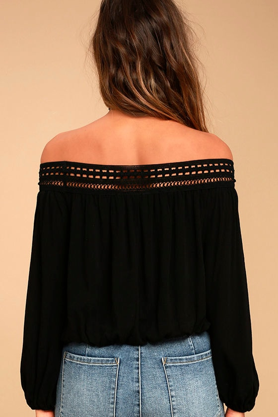 Festival Day Black Lace Off-the-Shoulder Crop Top 5