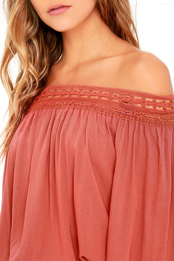 Festival Day Terra Cotta Lace Off-the-Shoulder Crop Top 5