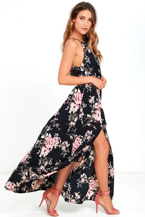 lovely blue dress - maxi dress - floral print dress - $89.00