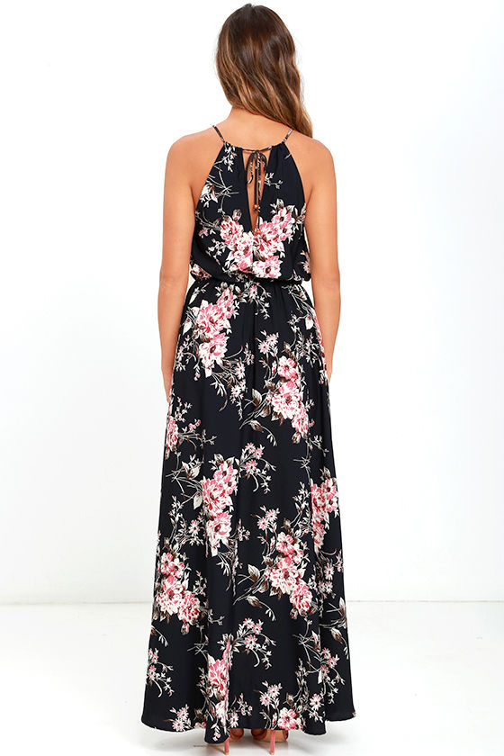 Feel the Music Navy Blue Floral Print Maxi Dress 4