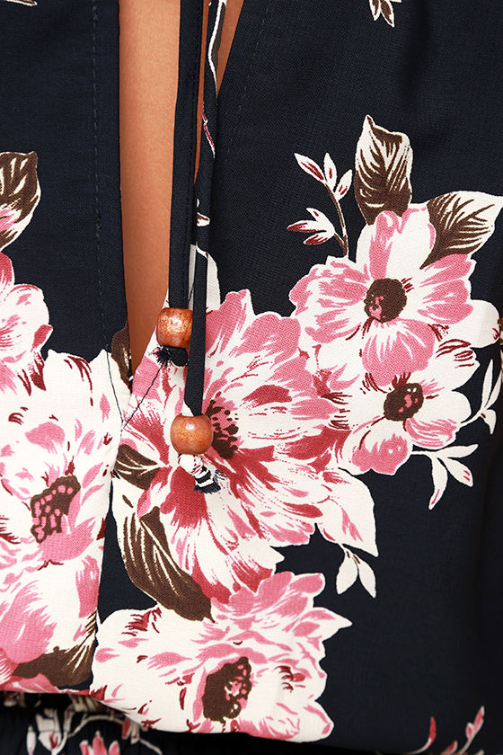Feel the Music Navy Blue Floral Print Maxi Dress 6