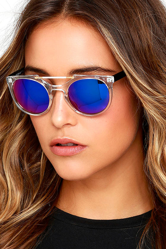 dca4525a60f8 Cool Mirrored Sunglasses - Clear and Blue Sun Glasses - $16.00