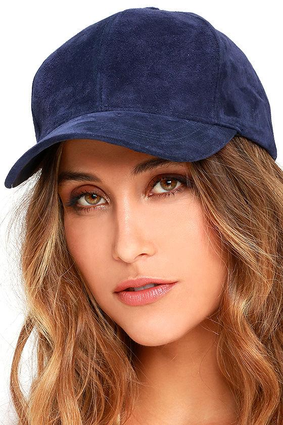 a5d206db57bf24 Chic Navy Blue Baseball Cap - Genuine Suede Baseball Cap - Ball Cap - $30.00