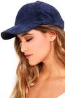 Chic Navy Blue Baseball Cap - Genuine Suede Baseball Cap - Ball Cap ... ad5bdedf58b