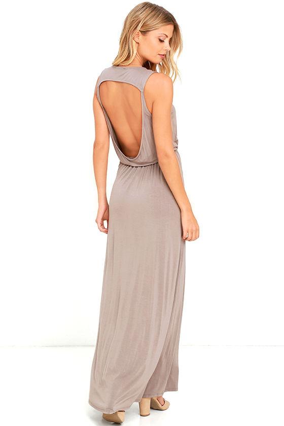 bc0214ea13 Sexy Maxi Dress - Taupe Dress - Open Back Dress -  56.00