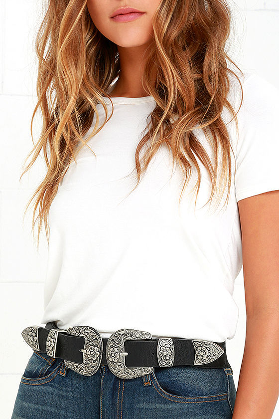 Hey Dude Black and Antiqued Silver Double Buckle Belt 1