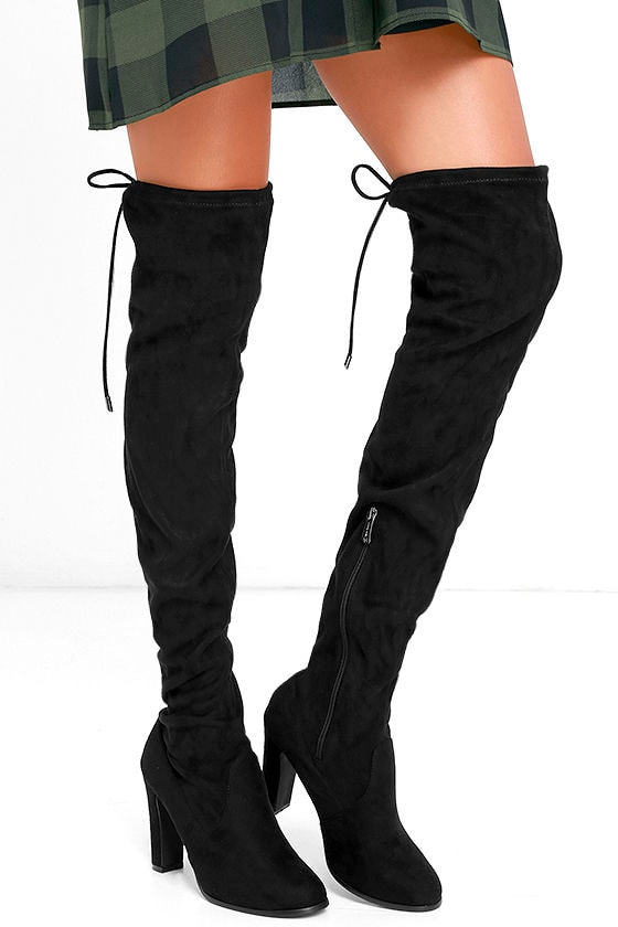 Stunning Steps Black Suede Over the Knee Boots 1