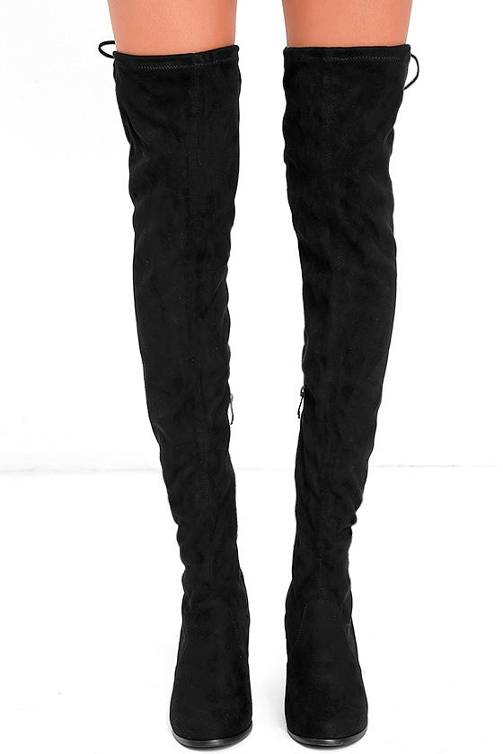 Stunning Steps Black Suede Over the Knee Boots 2