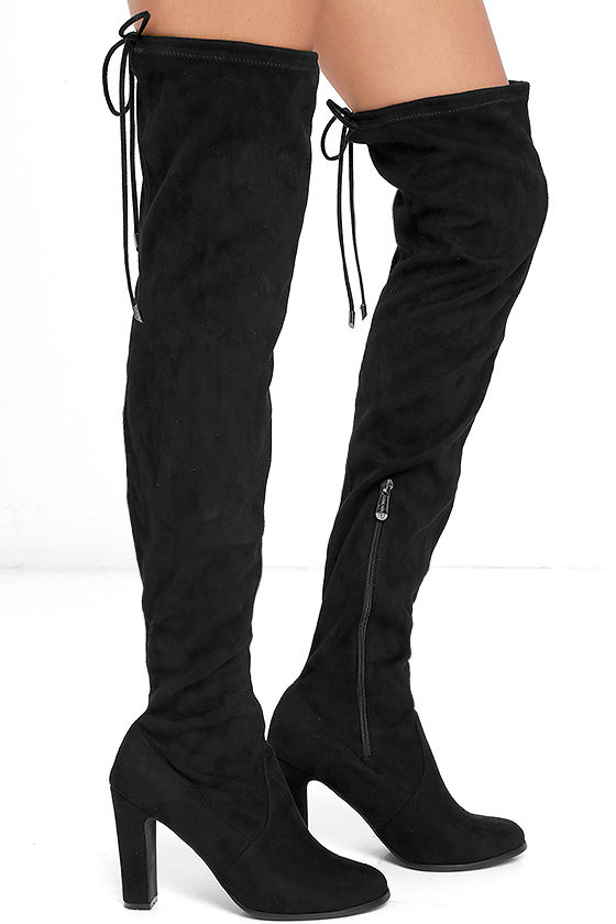Stunning Steps Black Suede Over the Knee Boots 3