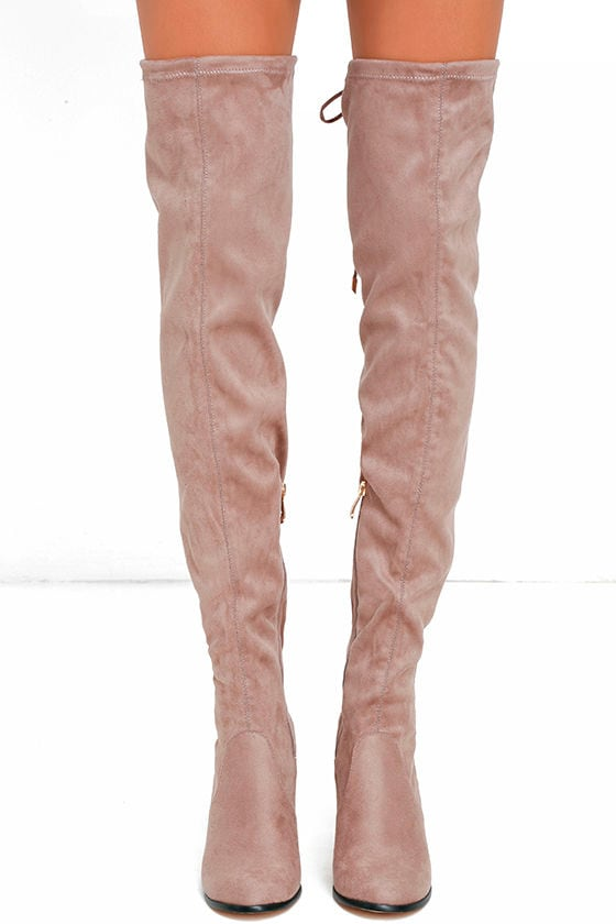 Stunning Steps Khaki Suede Over the Knee Boots 2