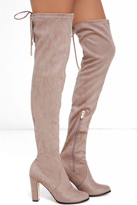 Stunning Steps Khaki Suede Over the Knee Boots 3