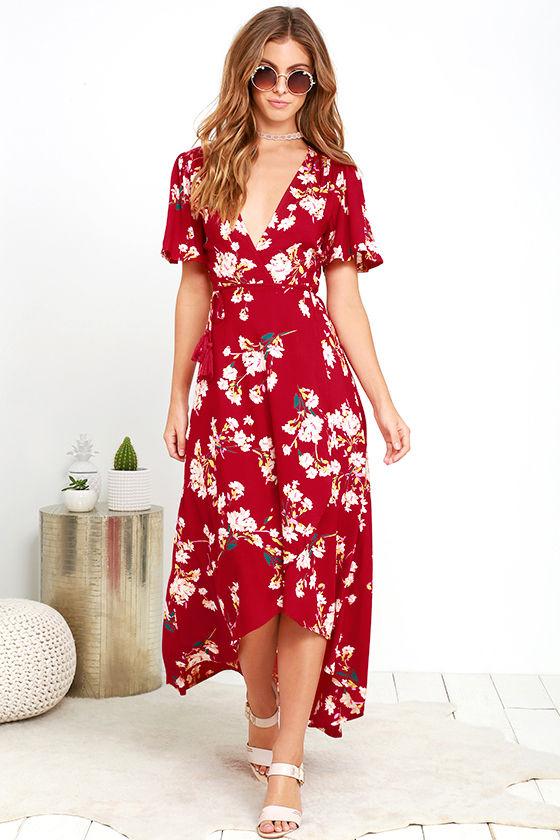 9d9a66ea67e Lovely Wine Red Dress - Floral Print Dress - High-Low Dress -  64.00