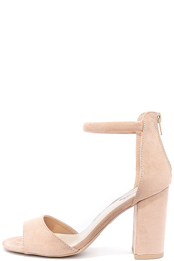 Sidecar Cutie Taupe Suede Ankle Strap Heels 1