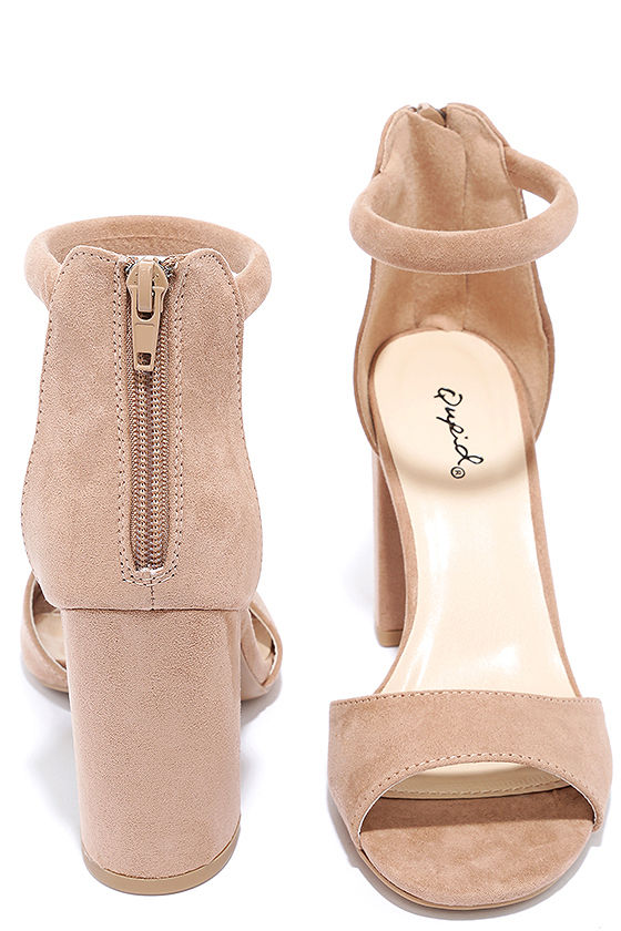 Sidecar Cutie Taupe Suede Ankle Strap Heels 3