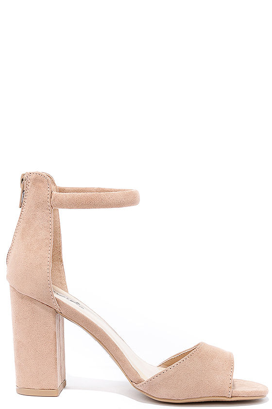 Sidecar Cutie Taupe Suede Ankle Strap Heels 4