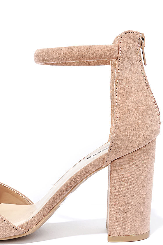 Sidecar Cutie Taupe Suede Ankle Strap Heels 7