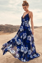 Stunning Floral Print Dress - Blue Maxi Dress - Long Sleeve Maxi ... 8043d58cb