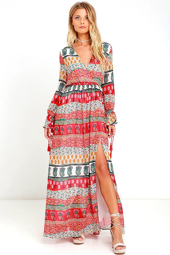 be25500d76 Lovely Red Print Dress - Print Maxi Dress - Tassel Maxi Dress - $74.00