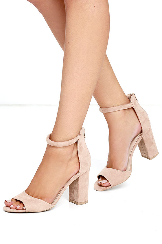Sidecar Cutie Taupe Suede Ankle Strap Heels 2