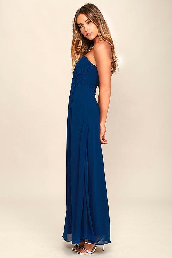 Lovely Maxi Dress - Navy Blue Dress - Strapless Dress - $88.00