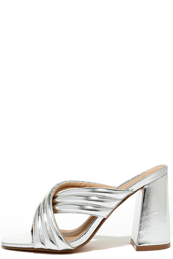 3f8213c0190 Stylish Silver Heels - Peep-Toe Mules - Mule Heels -  32.00