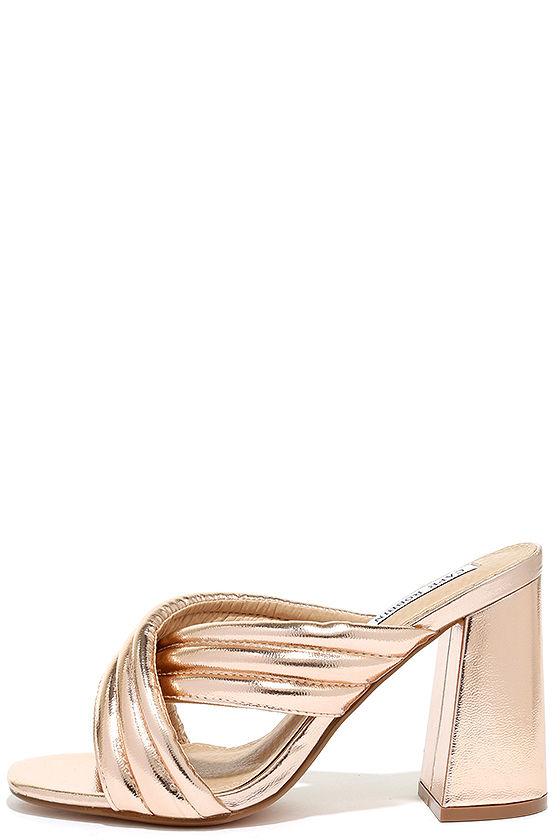 08cfff1bcff Stylish Rose Gold Heels - Peep-Toe Mules - Mule Heels -  32.00