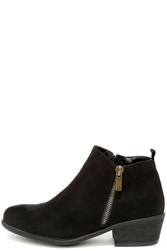 Wander My Way Black Suede Ankle Booties 1