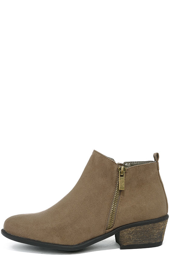 Wander My Way Taupe Suede Ankle Booties 2