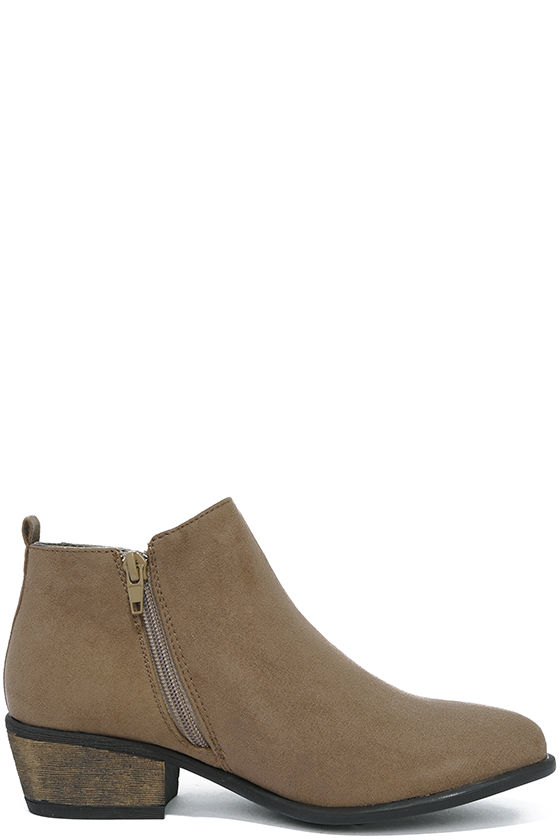 Wander My Way Taupe Suede Ankle Booties 4