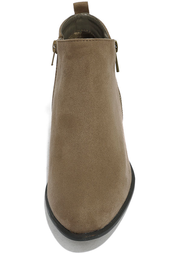 Wander My Way Taupe Suede Ankle Booties 5