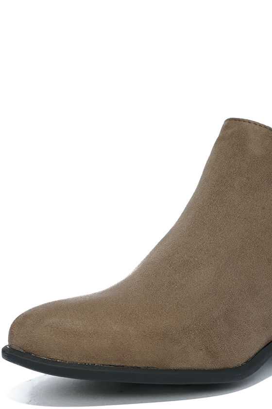 Wander My Way Taupe Suede Ankle Booties 6