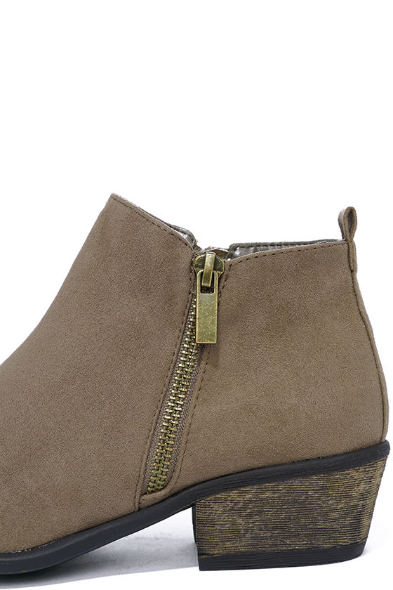 Wander My Way Taupe Suede Ankle Booties 7