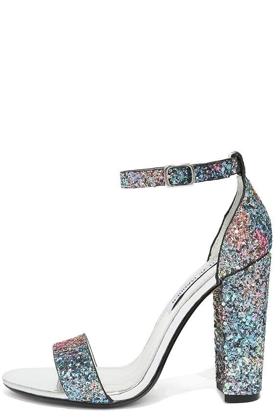 86a5be6338c3 Steven Madden Carrson Glitter - Cute Glitter Heels - Ankle Strap ...