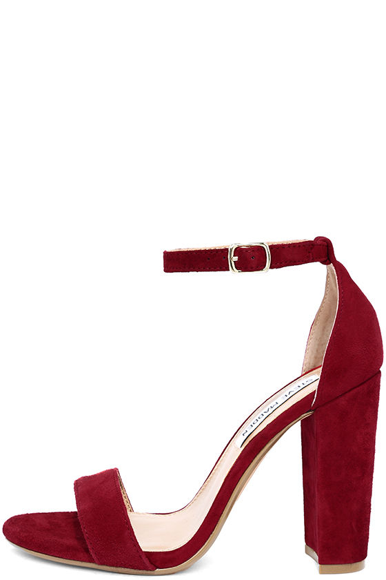 Cute Dark Red Heels - Suede Heels - Ankle Strap Heels - $89.00