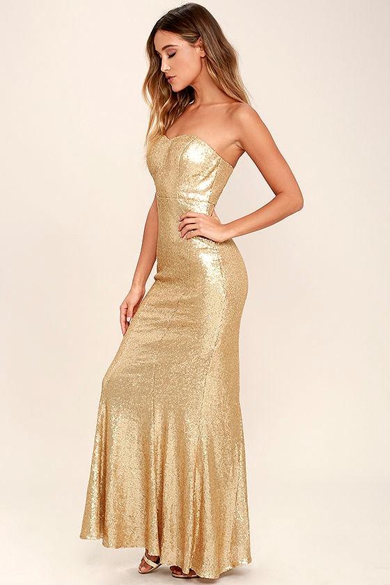 Stunning Gold Sequin Dress - Strapless Dress - Maxi Dress - $84.00