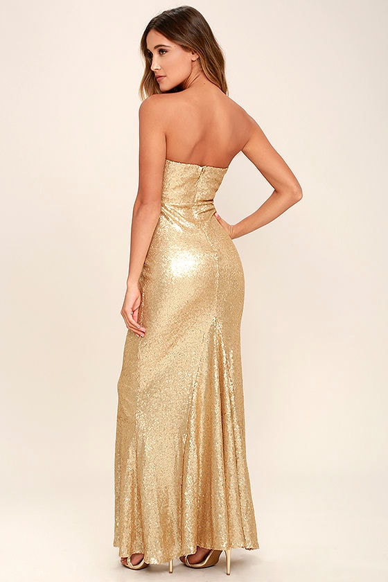 Stunning Gold Sequin Dress - Strapless Dress - Maxi Dress - $84.00