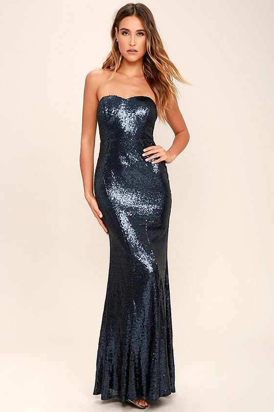 Stunning Navy Blue Sequin Dress - Strapless Dress - Maxi Dress ...