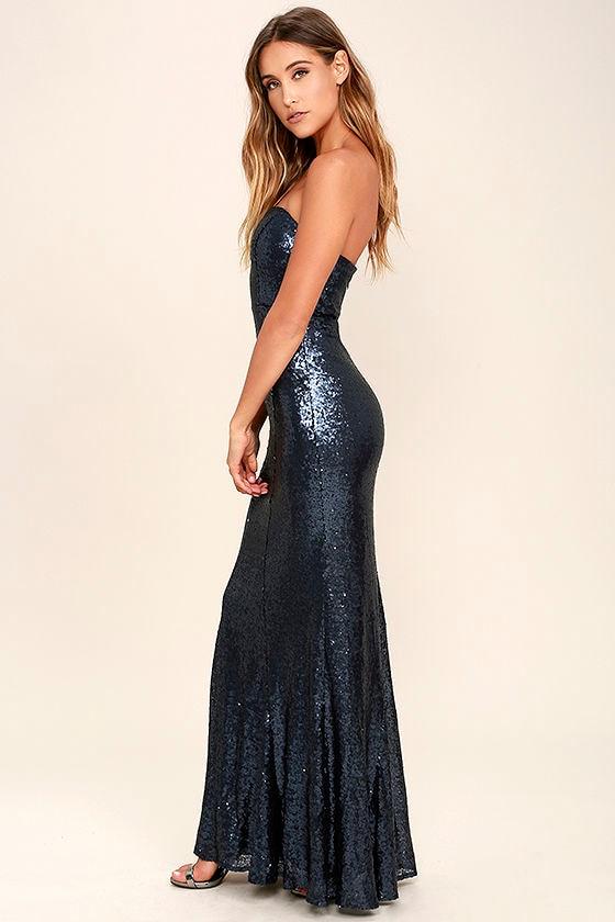 6d9a1cdb4 Stunning Navy Blue Sequin Dress - Strapless Dress - Maxi Dress - $84.00