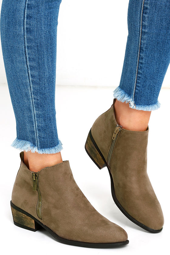Wander My Way Taupe Suede Ankle Booties 1