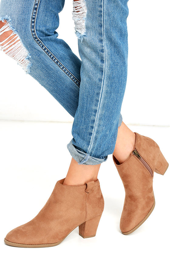 Sidewalk Strut Light Tan Ankle Booties 2