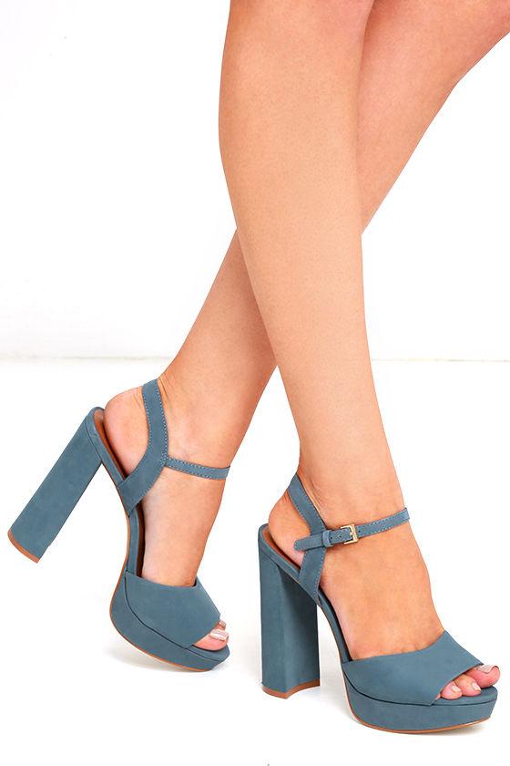 c1a0e9ba0ec1 Steve Madden Kierra Light Blue Nubuck Leather Platform Heels