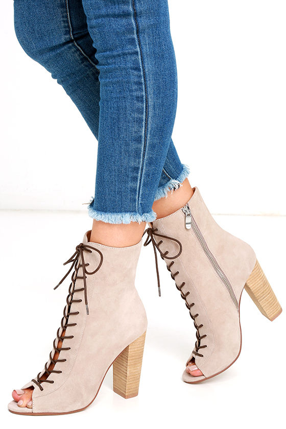 4a12c29bb8 Chinese Laundry Lawless - Grey Lace-Up Booties - Suede Lace-Up Booties