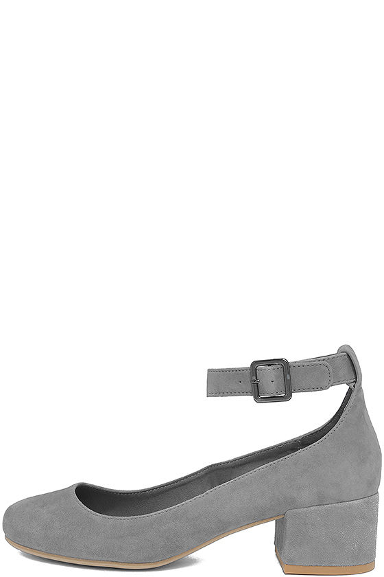 4bb7e6f7e90 Steve Madden Wails - Grey Suede Leather Heels - Ankle Strap Heels ...