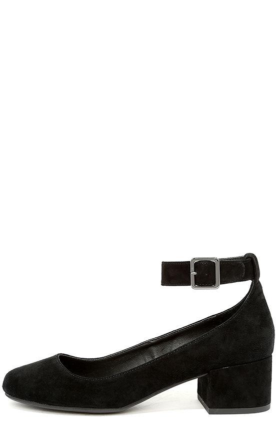 8e2bf6446f9 Steve Madden Wails Black Suede Leather Ankle Strap Heels