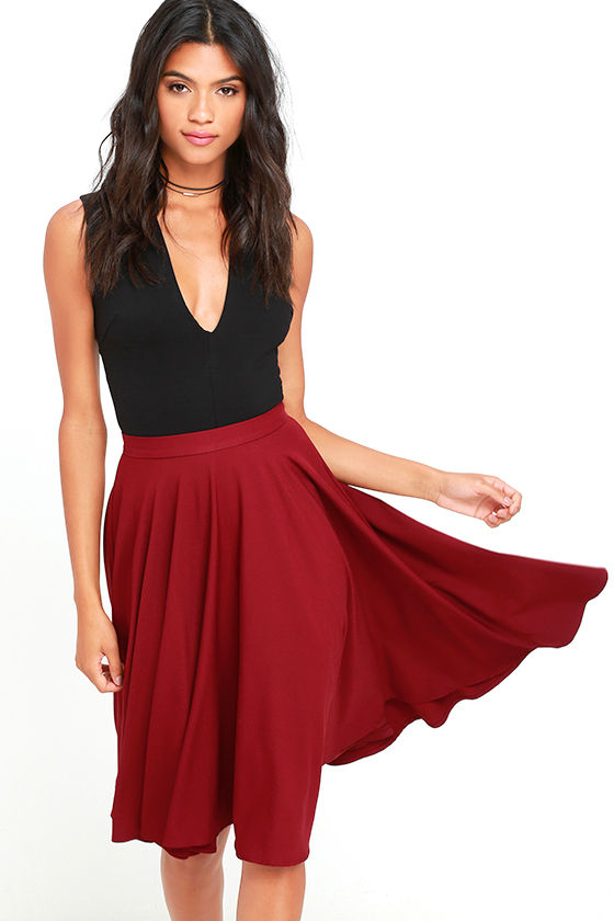 Dance Montage Wine Red Midi Skirt 1
